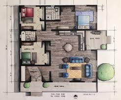 rendered floor plan hand rendered using prismacolor pencils