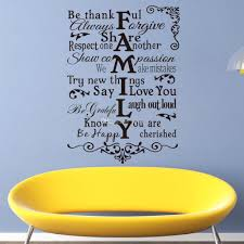 vinyl wall art stickers large family rules wall decals for living cheap wall art stickers best wood tree wall art