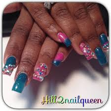 pretty pink color acrylic nail design with swarovski crystals