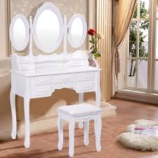 White Shabby Chic Dressing Table by Black White Vanity Makeup Dressing Table W Tri Folding Mirror