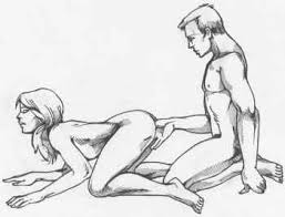 G-spot massage in the doggy position. Black and white line diagram showing a woman kneeling in the doggy position. The man kneels upright behind her. His thumb is inserted (face down) into her vagina and is stroking her G-spot (which is facing upwards).