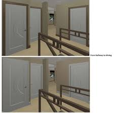 stained trim and painted doors 3d renderings attached floor