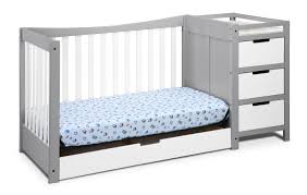 White Convertable Crib by Graco Remi 4 In 1 Convertible Crib And Changer Pebble Gray White