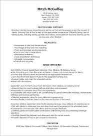 Accounting Resume Examples by Professional Catering Server Templates To Showcase Your Talent