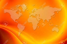 world map in bright orange background stock photo picture and