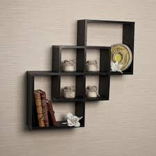 intersecting squares decorative black wall shelf free shipping