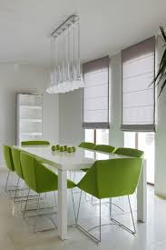 architecture beautiful white dining room with green dining chairs
