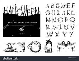 antique halloween background hand drawn vintage halloween vector set stock vector 322118393