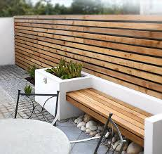 Outdoor Wall Planters by Modern Outdoor Space With Wood Slat Wall Bench Outdoor Spaces
