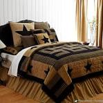 Rustic Country Black Western Star Twin Queen Cal King Cotton Quilt ...