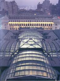 new york penn station view of glass and steel roof knocked down