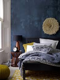 Bedroom Ideas With Blue And Brown Deep Blue Accent Wall In Modern Eclectic Bedroom Gorgeous Use Of