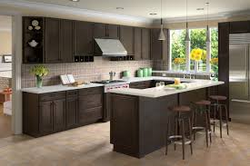 travertine countertops kitchens with espresso cabinets lighting