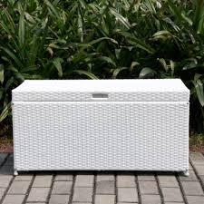 White Resin Wicker Outdoor Patio Furniture Set - amazon com outdoor 70 gallon wicker deck storage box color