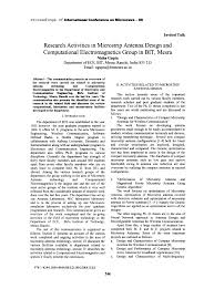 Research activities in microstrip antenna design and computational     Proceedings