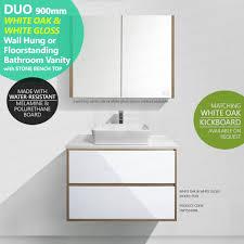 duo 900mm white oak timber wood grain u0026 white gloss polyurethane