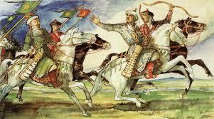 László Gyula akvarellje a honfoglaló lovasokat mutatja. Árpád népe
