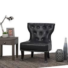 simpli home kitchener black bonded leather accent chair kitchener black bonded leather accent chair
