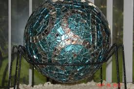 Gazing Ball Fountain Hand Made Van Gogh Stained Glass Mosaic Gazing Ball Made With