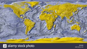 Colored World Map by World Map Shaded Relief With Shaded Ocean Floor Land Areas