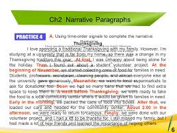n order essays A Using time order signals to complete the narrative Ch Narrative Paragraphs