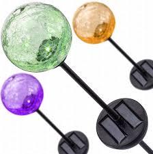 Gazing Ball Fountain Deneve Solar Garden Stake Lights 3 Pack Cracked Glass Led Outdoor Pat