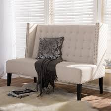 amazon com baxton studio owstynn linen modern banquette bench