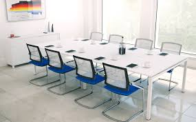 Modern White Office Desks Conference Room Interior Ideas With U Shape White Wooden Table And