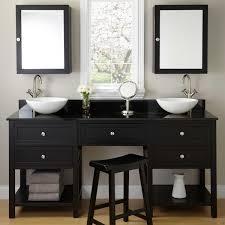 Taren Black Double Vessel Sink Vanity With Makeup Area - Black bathroom vanity with vessel sink