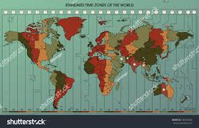 World Time Zones Map by World Map Standard Time Zones Cartography Stock Vector 155333426