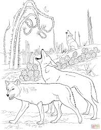 coyotes howling in desert coloring page free printable coloring