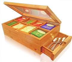 amazon com solid 100 bamboo tea box natural chest with clear