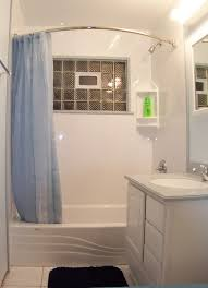 Cool Small Bathroom Ideas by Fascinating Enclosure Transparent Shower And Charming Wooden Shelf