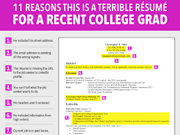 what are some objectives to put on a resume terrible resume for a recent college grad business insider