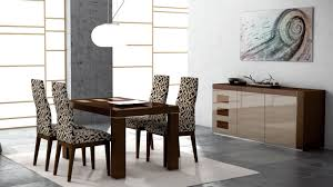 brown varnsihed teak wood cabinet grey covered velvet dining