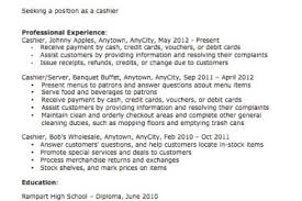nanny responsibilities resume cashier sample resume cashier job