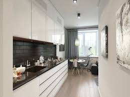 kitchen narrow modern apartment kitchen design with white gloss