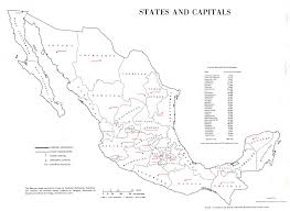 Mexico Map 1800 by Map Of Mexico States And Capitals 1975