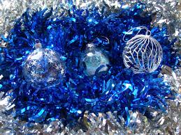 Christmas Tree Decorations Blue And Silver Art Baubles Glass And Wire Shiny Tinsel Blue And Silver