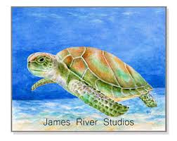 Sea Turtle Home Decor Sea Turtle Painting Sea Turtle Art Lake House Art Lake House
