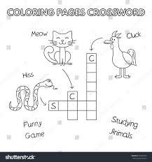 funny animals crossword vector coloring book stock vector