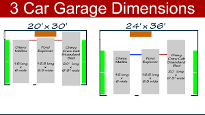 ideal 3 car garage dimensions youtube
