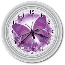 new purple butterfly wall clock office kitchen bathroom bedroom