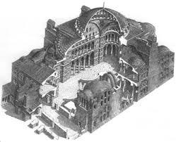 un disegno della basilica di Santa Sofia.