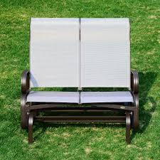Mesh Patio Chair Outsunny Double Seat Glider Garden Bench Outdoor Rocking Porch