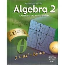 math worksheet   nixon lauren algebra ii   Mcdougal Littell Algebra   Workbook Online lbartman com