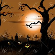 creepy tree halloween background with moon and cemetery royalty