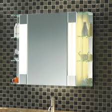 bathroom mirror cabinet w led lights u0026 adjustable shelves