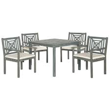 Safavieh Dining Room Chairs by Safavieh Del Mar Ash Gray 5 Piece Patio Dining Set With Beige
