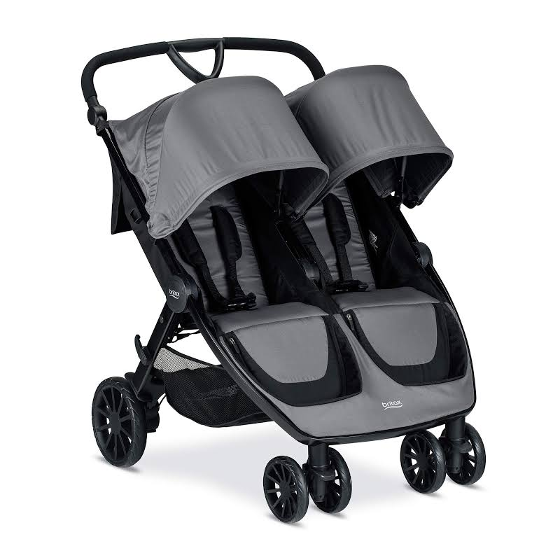 Britax Foldable Adjustable B Lively Double Baby Stroller With Mesh Canopy, Gray
